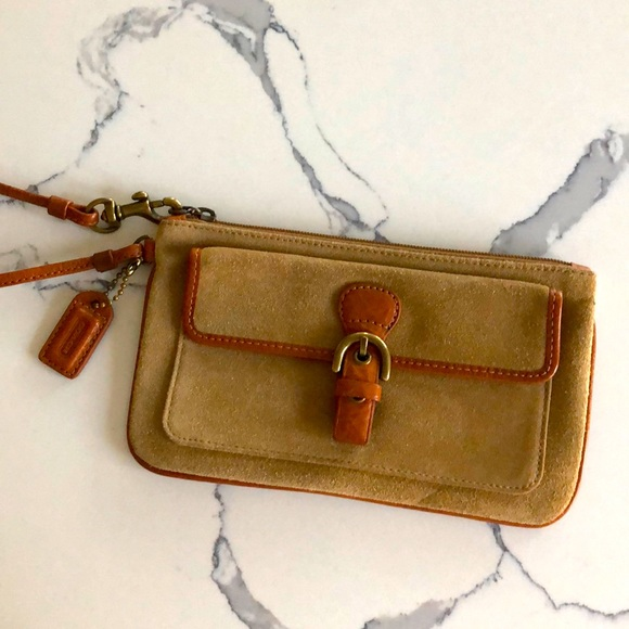Coach suede and leather wristlet